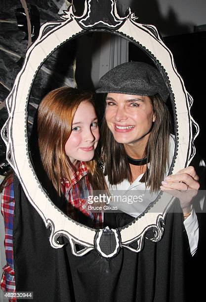 Rowan Henchy and Brooke Shields pose backstage at the new Edgar Allan Poe musical 'Nevermore' at The New World Stages on January 25 2015 in New York...