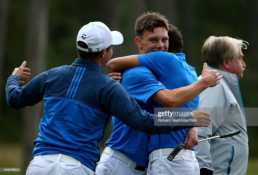 <a gi-track='captionPersonalityLinkClicked' href=/galleries/search?phrase=Rowan+Lester&family=editorial&specificpeople=11233189 ng-click='$event.stopPropagation()'>Rowan Lester</a> of GB&I celebrates with his team mates after he holed the putt that seals victory over Vitek Novak of Europe and secures the trophy for GB&I during the final day of the Jacques Trophy at Barseback Golf & Country Club on August 30, 2014 in Loddekopinge, Sweden.