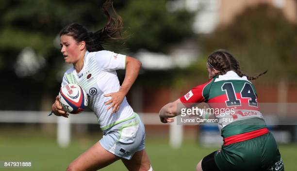 Rowan White of Saracens Women and Michelle Davis of Firwood Waterloo Ladies during the Tyrrells Premier 15 at The Memorial Ground on September 16...