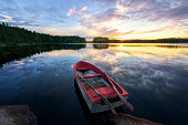 Rowboat with stunning sunset.