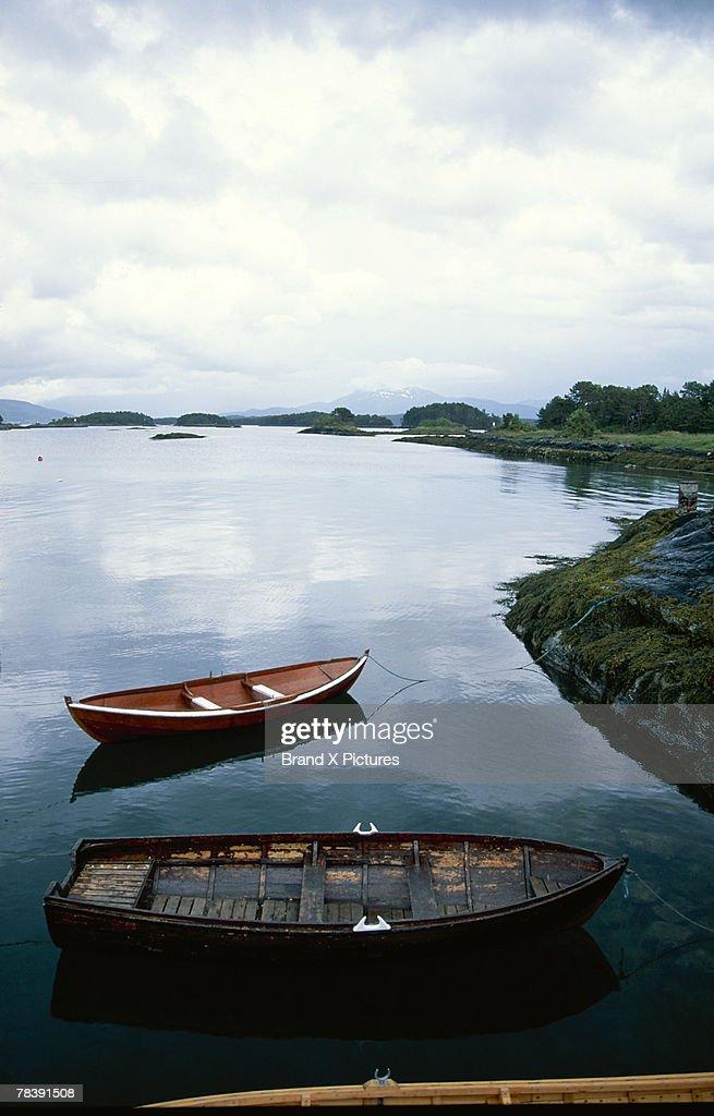 Rowboats on lake, Molde, Norway : Stock Photo