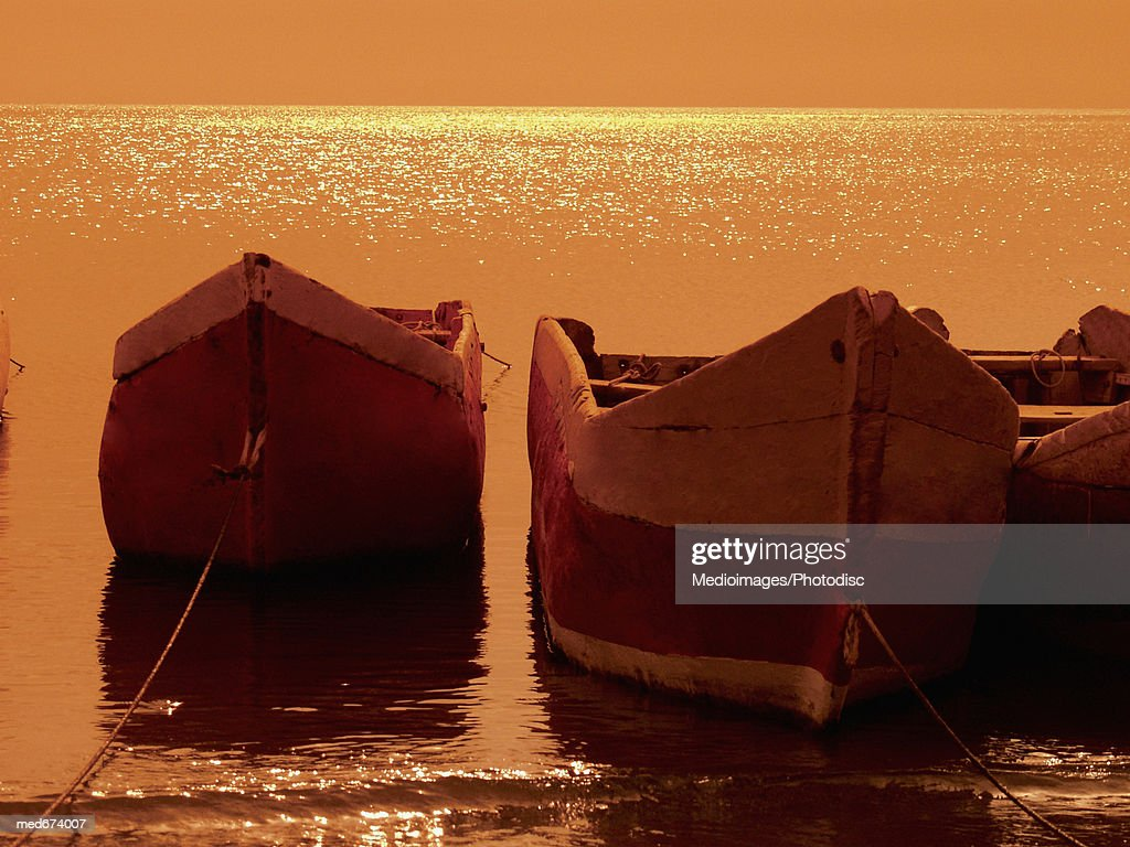 Rowboats tied up in Santa Marta, Colombia, South America
