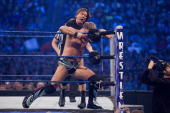 'Rowdy' Roddy Piper battles WWE Superstar Chris Jericho during WrestleMania 25 at Reliant Stadium on April 5 2009 in Houston Texas