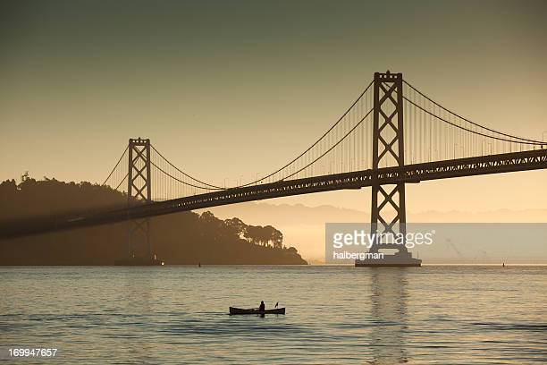 Rower and Bay Bridge at Sunrise