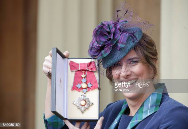 Rower Dame Katherine Grainger after she was made a Dame Commander by Queen Elizabeth II during an Investiture ceremony at Buckingham Palace on March...