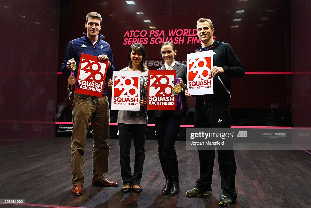 Rower Gregory Searle, Malaysian squash-player Nicol David, cyclist <a gi-track='captionPersonalityLinkClicked' href=/galleries/search?phrase=Victoria+Pendleton&family=editorial&specificpeople=228525 ng-click='$event.stopPropagation()'>Victoria Pendleton</a> and squash player Nick Matthew pose with 2020 Back the Bid signs aimed at getting Squash into the 2020 Olympics, during Day 3 of the World Series Finals held at Queens Club on January 4, 2013 in London, England.