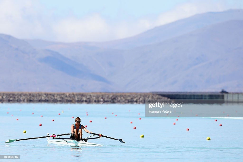 A rower warms up during day four of the New Zealand Rowing Championships at Lake Ruataniwha on February 22, 2013 in Twizel, New Zealand.