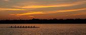 College Crew team rowing at sunrise