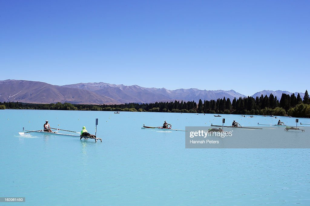 Rowers compete during the New Zealand Rowing Championships at Lake Ruataniwha on February 19, 2013 in Twizel, New Zealand.