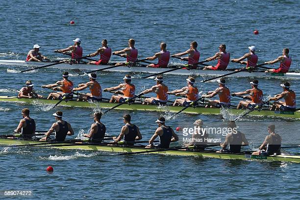 Rowers compete in the Men's Eight Final A on Day 8 of the Rio 2016 Olympic Games at the Lagoa Stadium on August 13 2016 in Rio de Janeiro Brazil