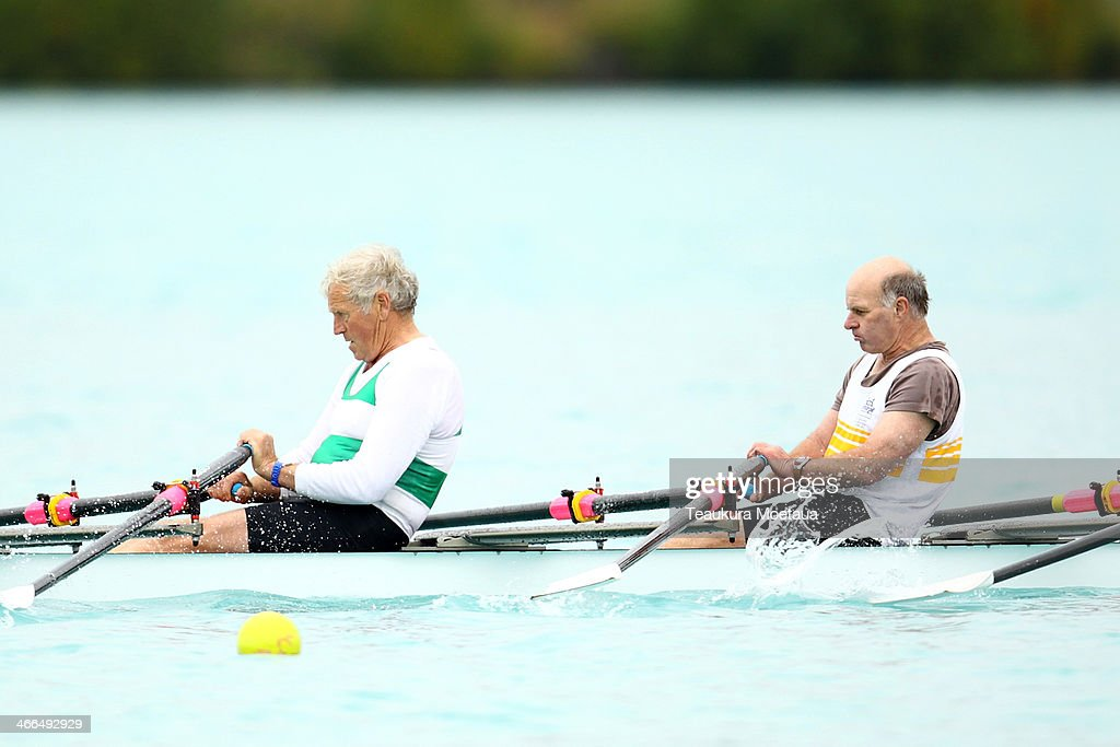 Rowers compete in the Mens masters coxed quadruple sculls during the South Island Club Championships at Lake Ruataniwha on February 2 2014 in Twizel...
