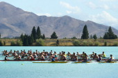Rowers compete in the Mens open coxed eight during the South Island Club Championships at Lake Ruataniwha on February 1 2014 in Twizel New Zealand