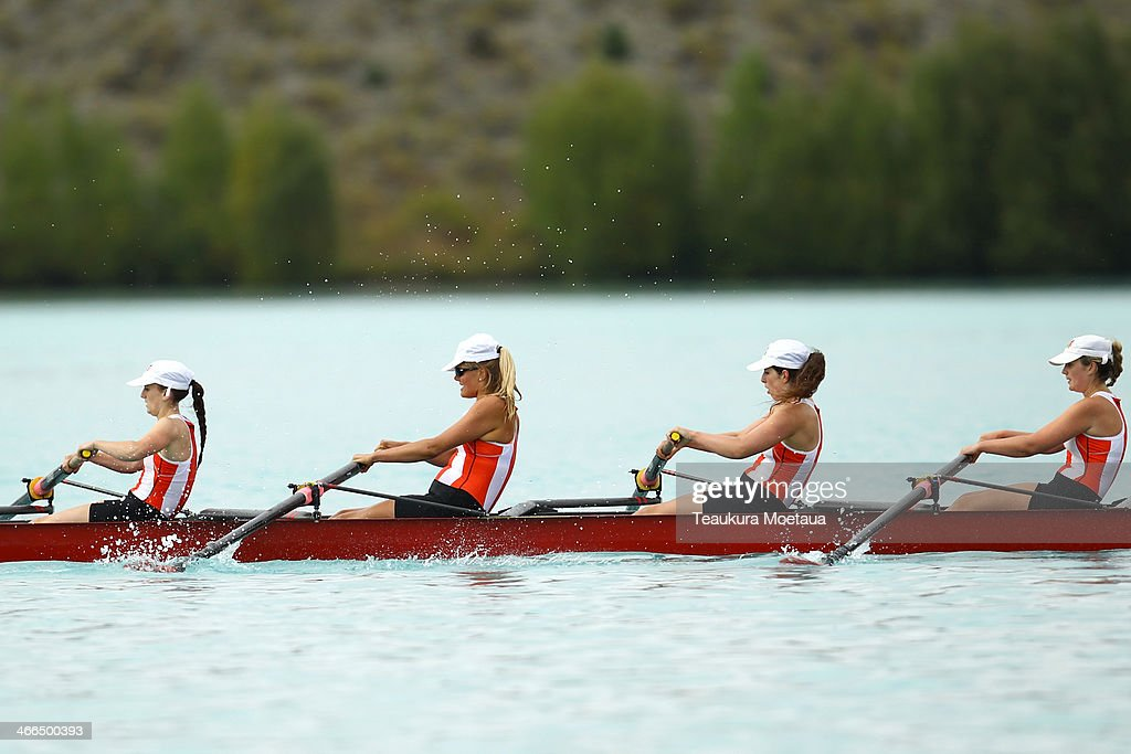 Rowers compete in the Womans novice coxed eight final during the South Island Club Championships at Lake Ruataniwha on February 2 2014 in Twizel New...