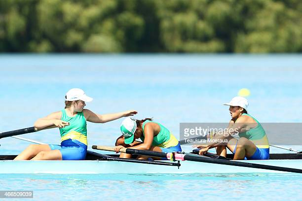 Rowers compete in the Womans novice coxed four during the South Island Club Championships at Lake Ruataniwha on February 2 2014 in Twizel New Zealand
