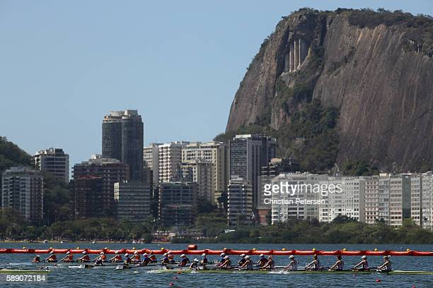 Rowers compete in the Women's Eight Final A on Day 8 of the Rio 2016 Olympic Games at the Lagoa Stadium on August 13 2016 in Rio de Janeiro Brazil