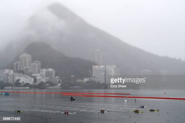Rowers compete in the Women's Pair Final B on Day 7 of the Rio 2016 Olympic Games at Lagoa Stadium on August 12 2016 in Rio de Janeiro Brazil