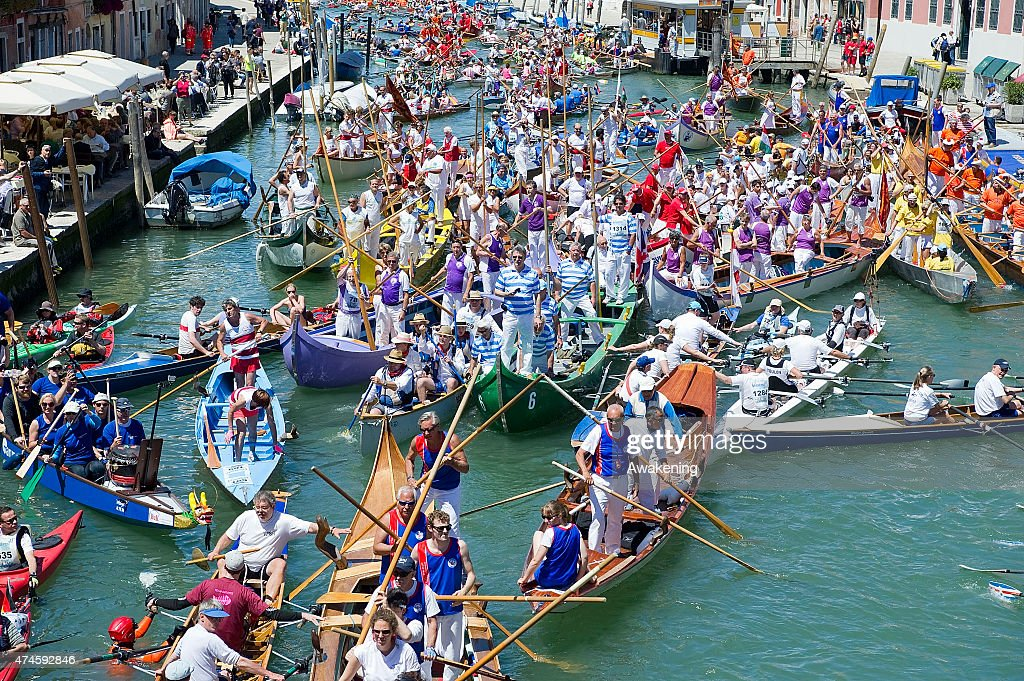 Rowers during the final chaotic phases of the 41st Venice Vogalonga on May 24, 2015 in Venice, Italy. Years ago a group of Venetians, both amateur and professional rowers, came up with an idea of a non-competitive race in which any kind of rowing boat take part. The first Vogalonga began with the message to protest against the growing use of powerboats in Venice and the swell damage they do to the historic city.