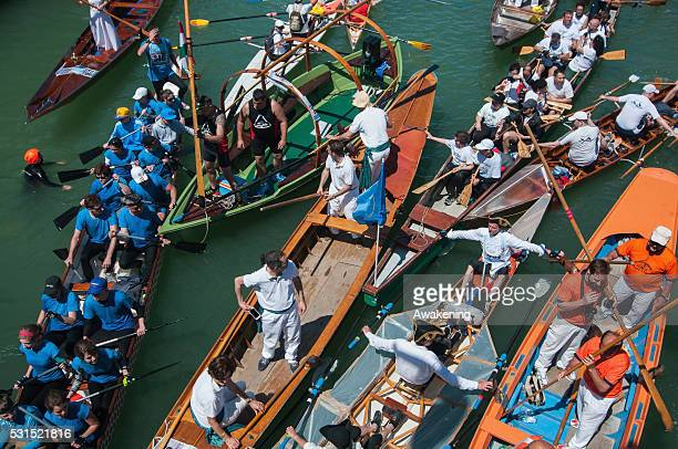 Rowers during the final chaotic phases of the 42nd Venice Vogalonga on May 15 2016 in Venice Italy 42 years ago a group of Venetians both amateur and...