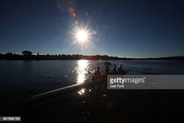 Rowers during the North Island Club Championships at Lake Karapiro on February 9 2014 in Cambridge New Zealand