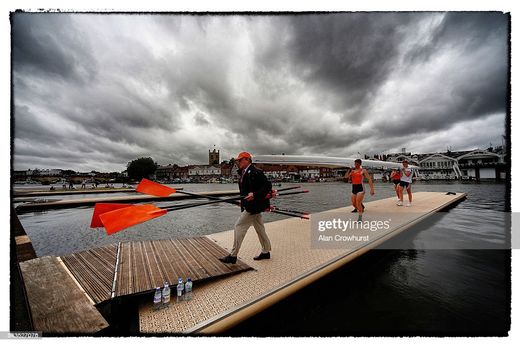 Rowers leave the water after finishing their race during the Henley Royal Regatta on June 29, 2016 in Henley-on-Thames, England.