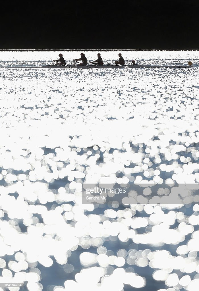 Rowers make their way to the start line during day four of the Maadi Cup at Lake Karapiro on March 21, 2013 in Cambridge, New Zealand.