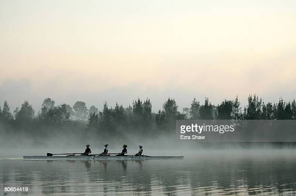 Rowers practice in the early morning before the start of the races in day three of the Rowing Australia final selection trials held at Sydney...