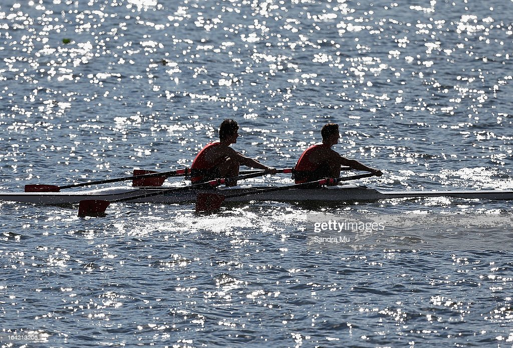 Rowers race during day four of the Maadi Cup at Lake Karapiro on March 21, 2013 in Cambridge, New Zealand.