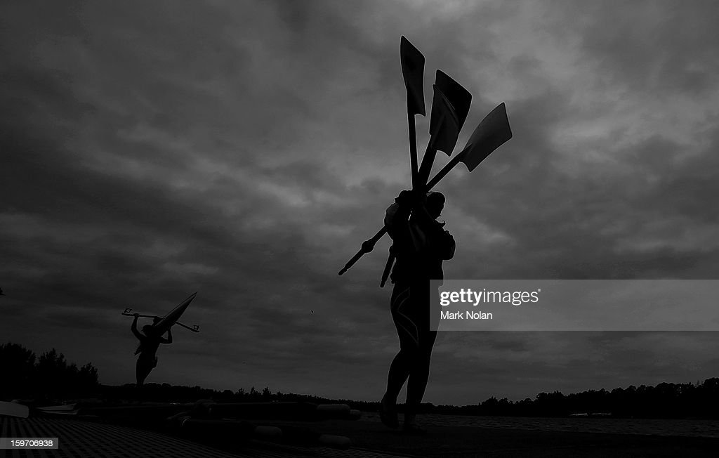 Rowers take their oars and boats out of the water during day four of the Australian Youth Olympic Festival at Sydney International Regatta Centre on January 19, 2013 in Sydney, Australia.