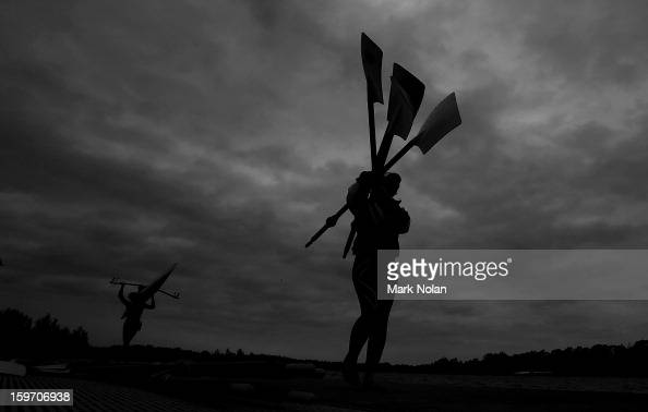 Rowers take their oars and boats out of the water during day four of the Australian Youth Olympic Festival at Sydney International Regatta Centre on...