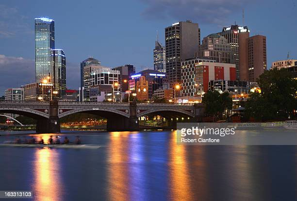 Rowers take to the water for an early morning training session on the Yarra River March 7 2013 in Melbourne Australia Rowing has been held on the...