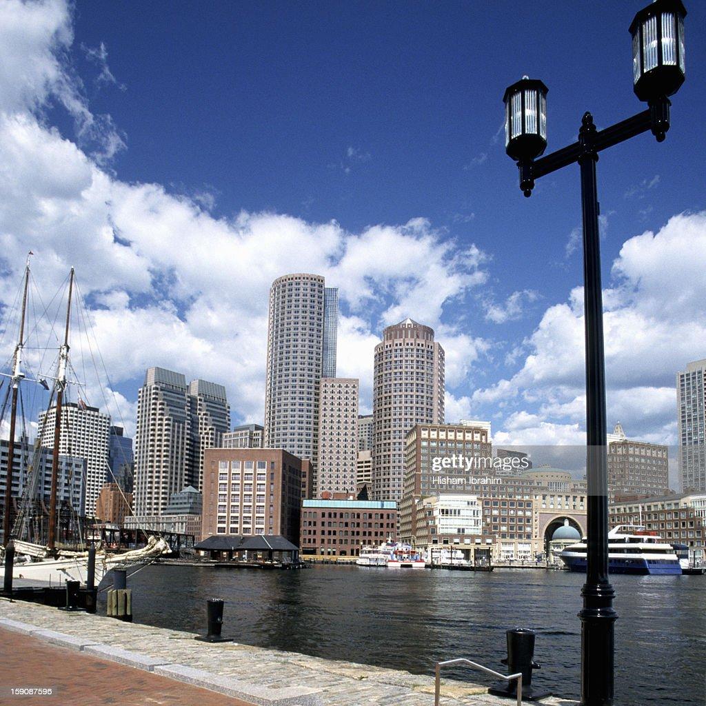 Rowe's Wharf and skyline, Boston, Massachusetts : Stock Photo