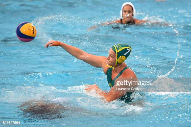 Rowie Webster of Australia shoots during the Women's Water Polo Quarter Final against The United States on day eleven of the Budapest 2017 FINA World...