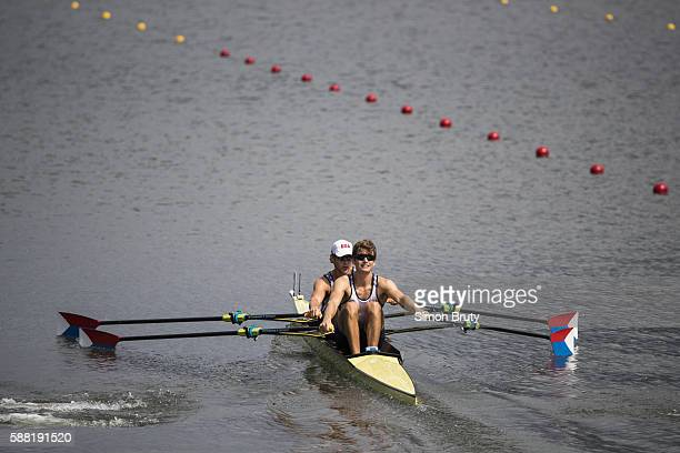 2016 Summer Olympics USA Josh Konieczny and Andrew Campbell Jr in action during Men's Lightweight Double Sculls Heats at Lagoa Rodrigo de Freitas Rio...