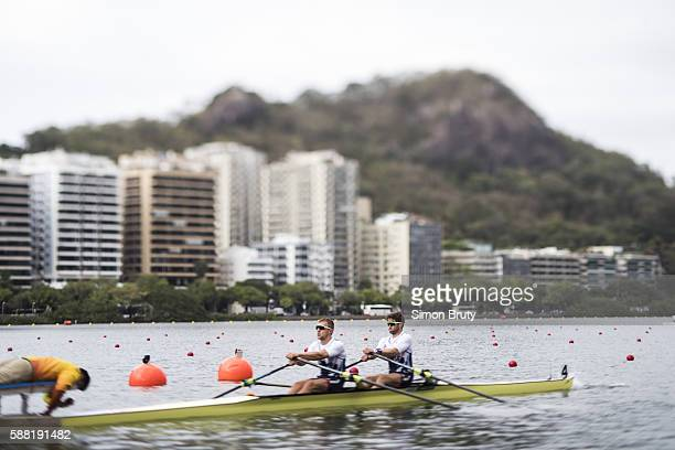 2016 Summer Olympics View of Great Britain John Collins and Jonathan Walton in action during Men's Double Sculls Heats at Lagoa Rodrigo de Freitas...