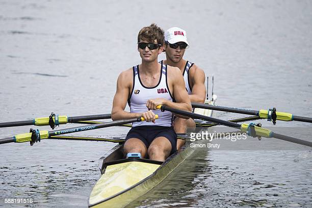 2016 Summer Olympics View of USA Josh Konieczny and Andrew Campbell Jr in boat before Men's Lightweight Double Sculls Heats at Lagoa Rodrigo de...