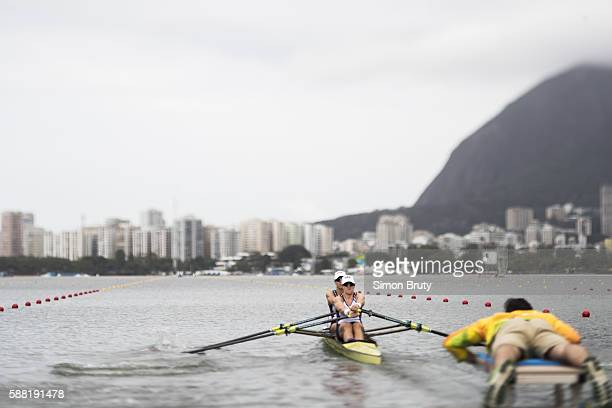 2016 Summer Olympics View of USA Meghan O'Leary and Ellen Tomek in action during Women's Double Sculls Heats at Lagoa Rodrigo de Freitas Image taken...