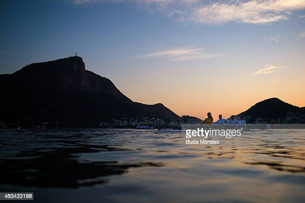 Rowing athletes practice during a training session at the World Rowing Junior Championships at Lagoa Rodrigo de Freitas on August 8 2015 in Rio de...