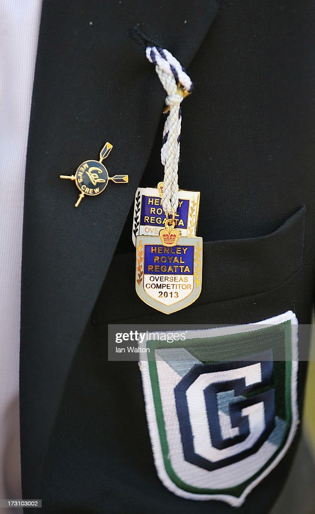 Rowing badges are seen on a spectator's jacket on day five of the Henley Royal Regatta on on July 7 2013 in HenleyonThames England