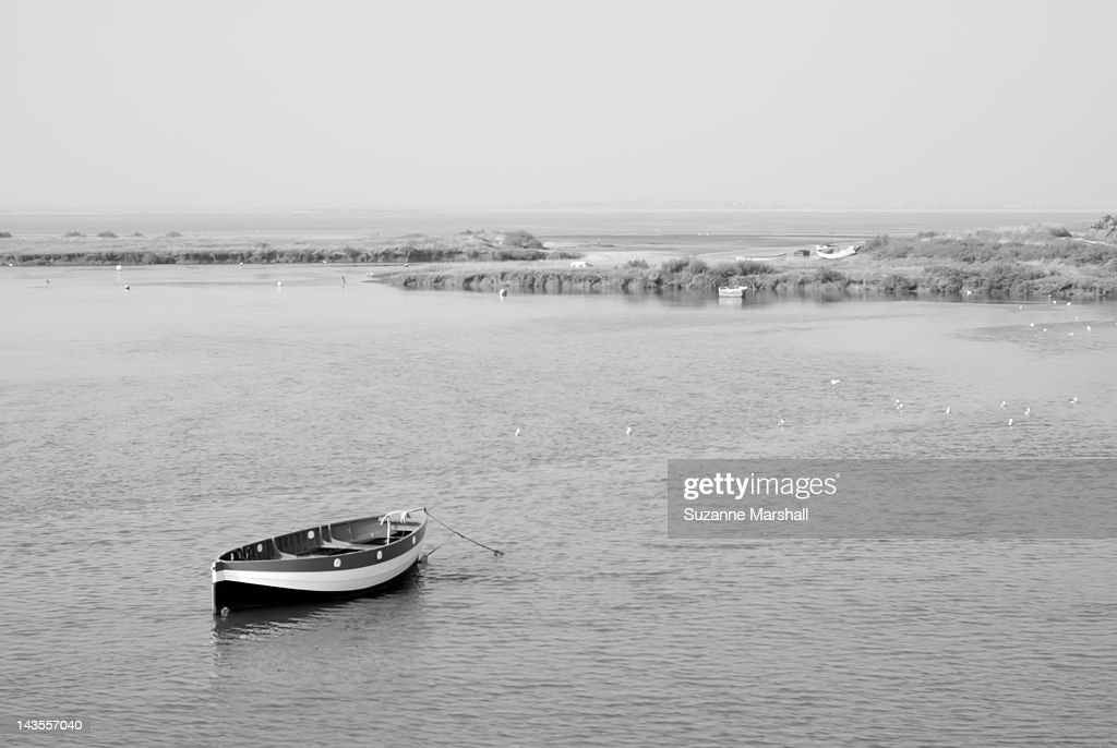 Rowing boat moored in estuary : Stock Photo