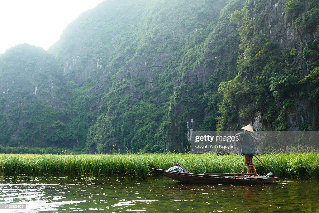 Rowing boat on river, Tam Coc, Ninh Binh, Vietnam