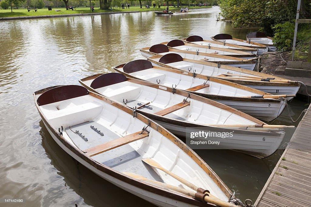 Rowing boats for hire at Stratford upon Avon : Stock Photo