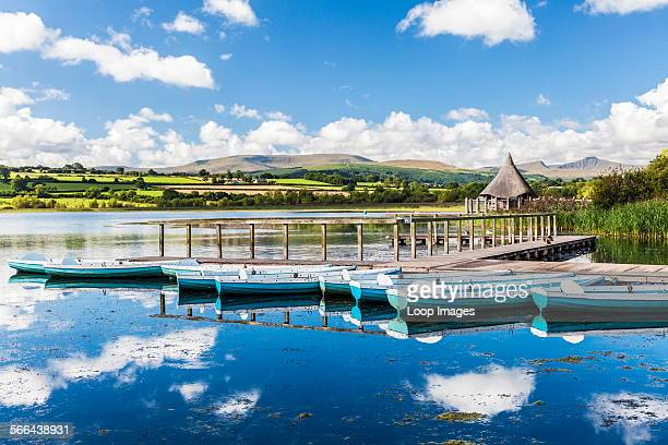 Rowing boats moored at Llangors Lake in the Brecon Beacons National Park