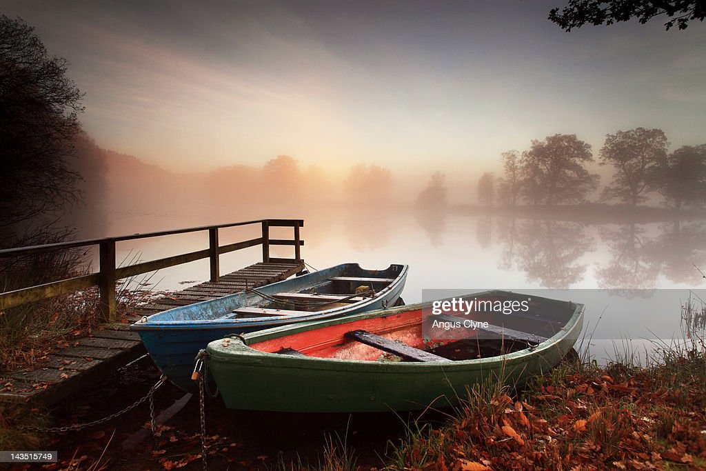 Rowing boats moored on banks of wooded lake : Stock Photo