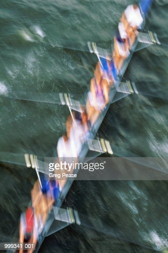 Rowing crew, blurred motion, aerial view : Stock Photo