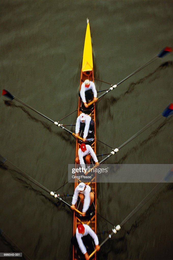 Rowing crew, overhead view : Stock Photo