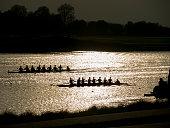 Rowing eights race on Dorney Lake Eton