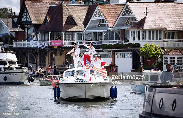 Rowing fans dressed as Elvis on a yacht on day four of the Henley Royal Regatta on July 02 2016 in HenleyonThames England This year is the 177th year...