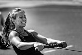 Rowing machine workout, black and white