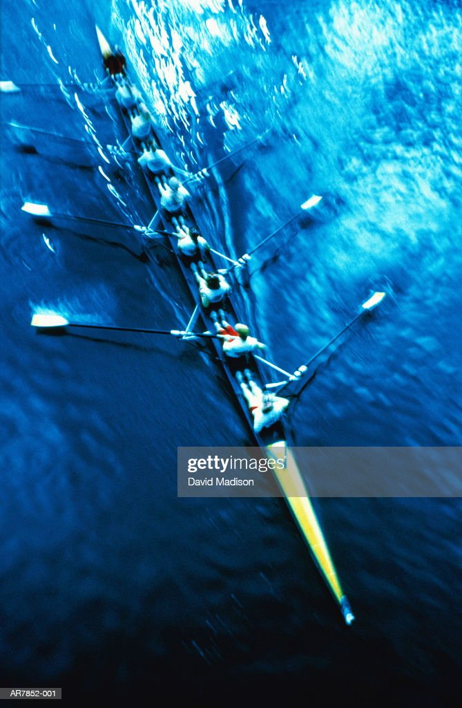 Rowing, scull crew, elevated view, (blurred motion, infrared) : Stock Photo