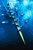 Rowing, scull crew, elevated view, (blurred motion, infrared)